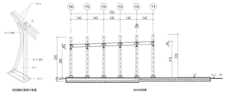 棚架结构剖面图;图面提供:里埕设计工坊