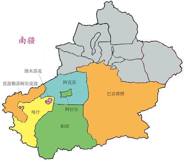 南疆地图(图片摘自/蚂峰窝) 气候特徵 新疆以天山为界,南,北疆差异明图片