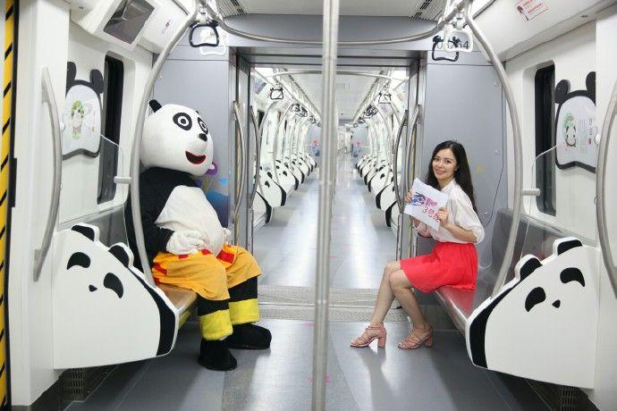 熊猫主题列车 游家乡成都更有味道 盼达号的主题列车设计都是跟熊猫
