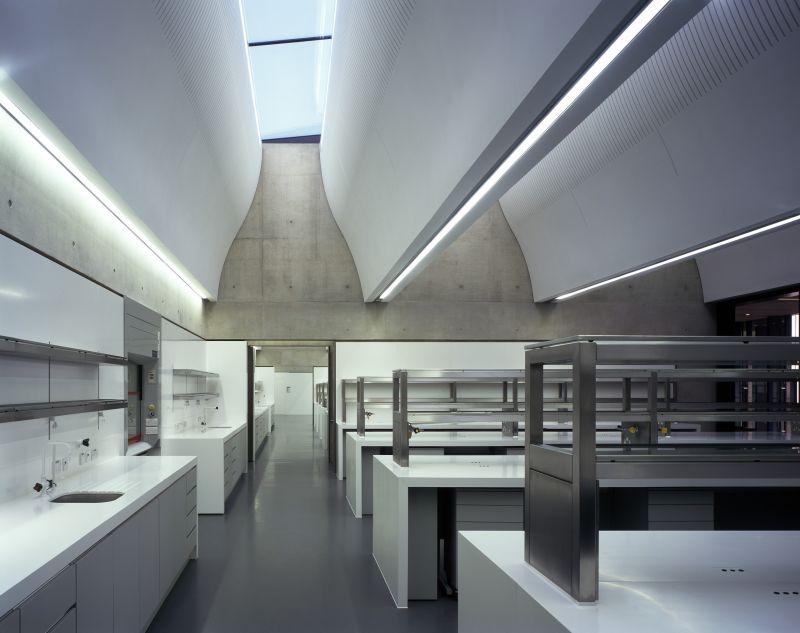 带状的采光天窗设计为室内研究空间带来柔和且舒适的自然光;图片提供