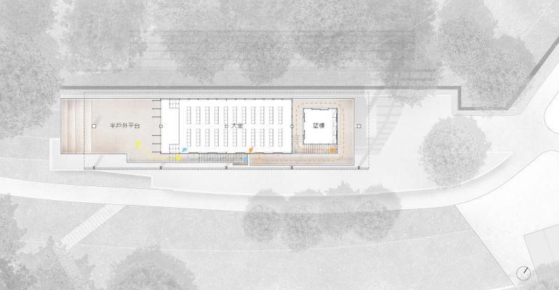 福山教堂 二層平面圖;圖片提供/無有設計