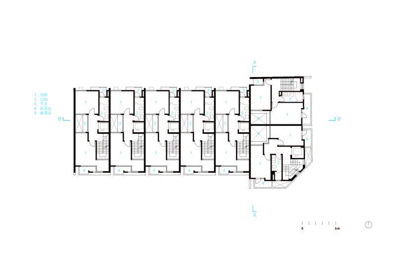 五層平面圖;圖片提供:沈庭增建築師事務所