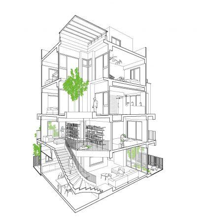 轉角透視圖B;圖片提供:沈庭增建築師事務所