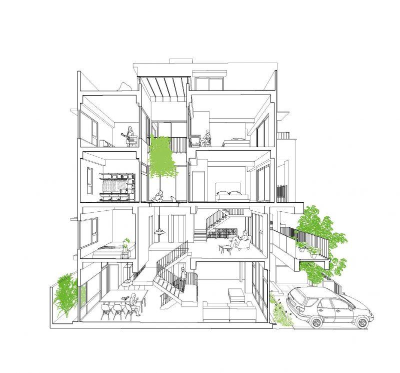 轉角透視圖A;圖片提供:沈庭增建築師事務所