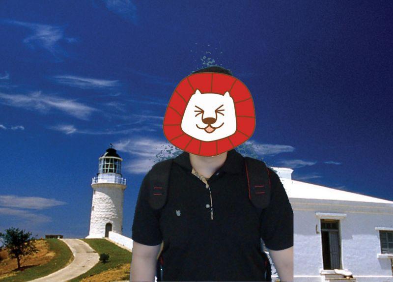 「互動式情境照」讓你在北竿也能跟東莒的「東犬燈塔」拍張合照 圖/吳仁凱提供
