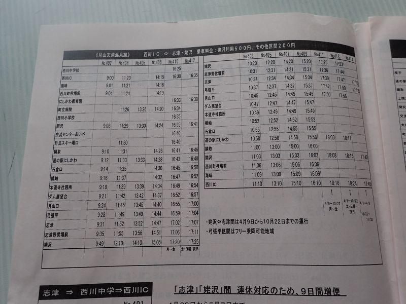 月山志津溫泉線的巴士時刻表 (娜塔蝦 攝)