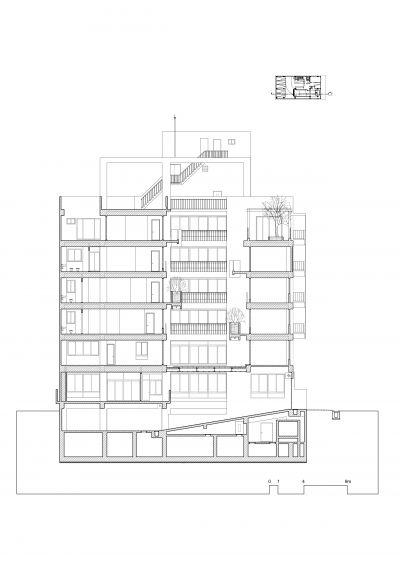剖面圖;圖面提供:張景堯建築師事務所