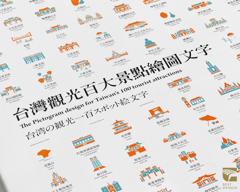 2016金點設計獎年度最佳設計作品─台灣觀光百大景點繪圖文字;圖片提供:台灣創意設計中心