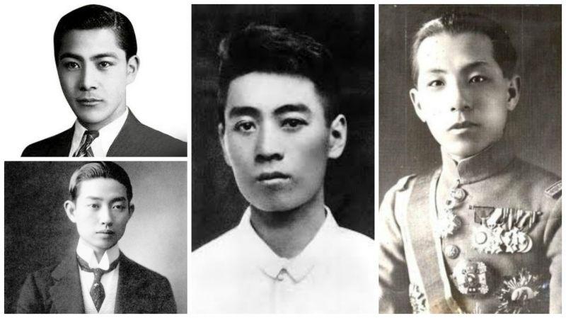 左上:汪精衛、左下:梅蘭芳、中:周恩來、右:張學良