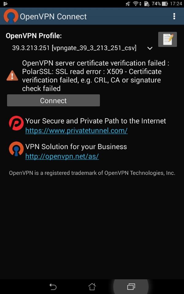 如果一直出現這樣的畫面跨區失敗,請下載較早版本的OpenVPN即可解決 圖/翻攝自手機
