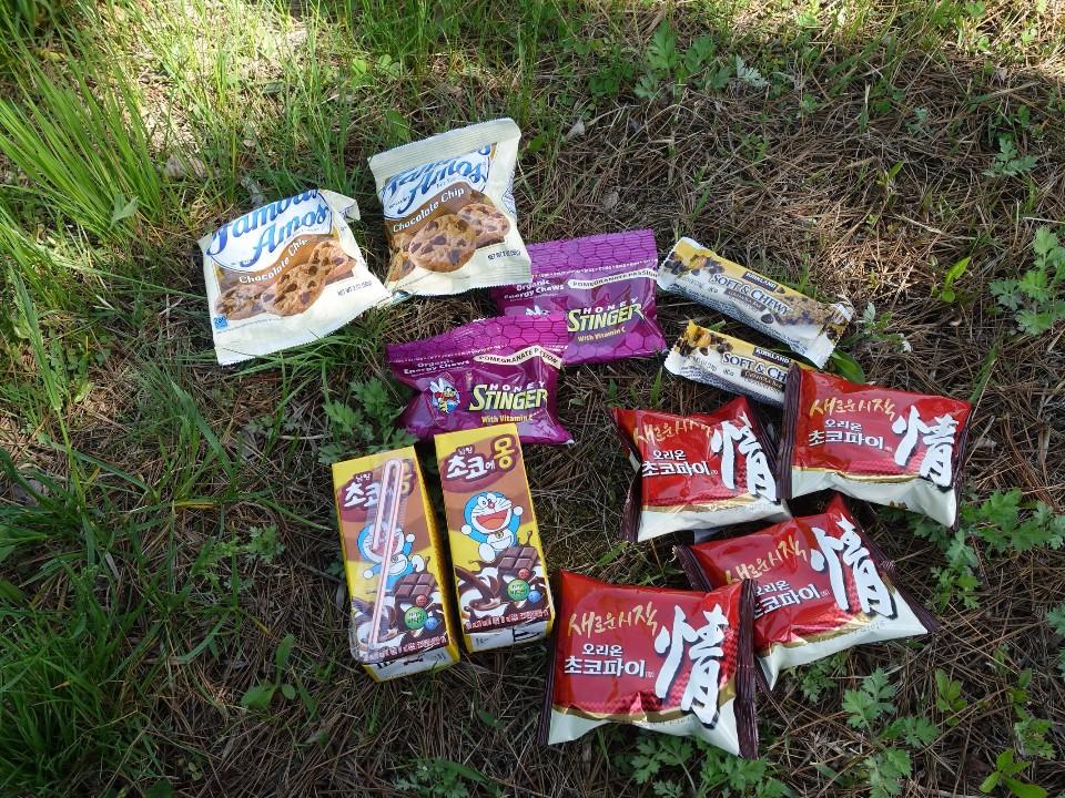 補給品的內容有巧克力派、軟糖、營養棒&餅乾、巧克力牛奶…等等。雖然稱不上是道地小吃,但是也相當豐富。(賴維屏提供)