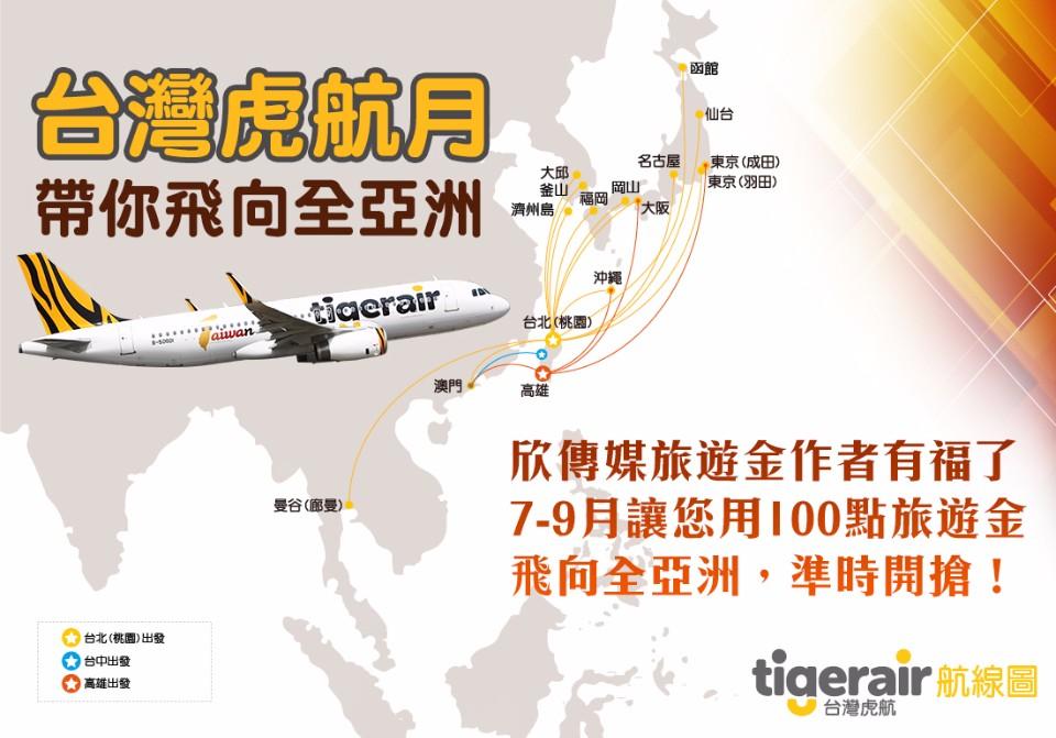 8月「台灣虎航X旅遊金」超值百點兌換