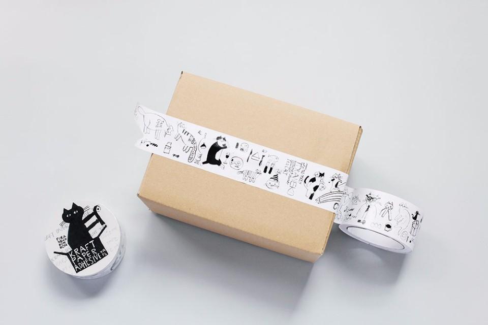 トラネコボンボン 封箱膠帶。(小器藝廊(+g)提供)