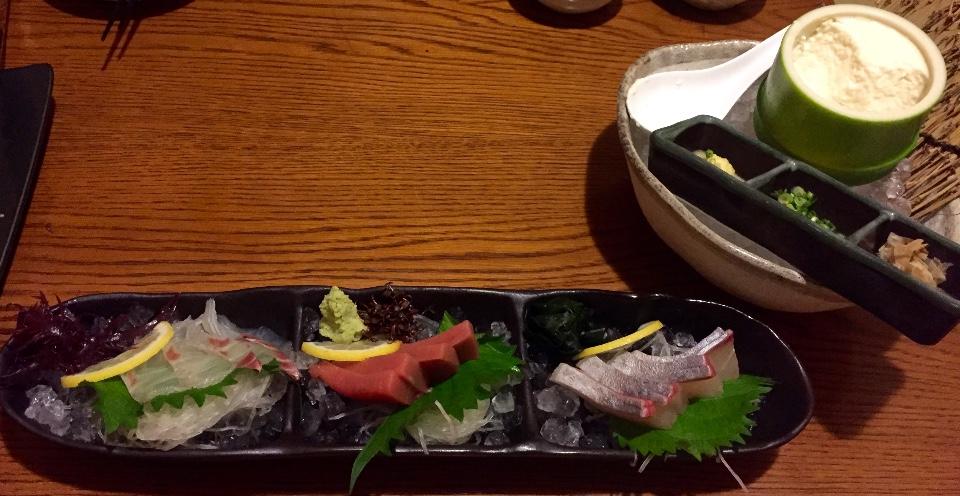 三品生魚片、原味豆腐花