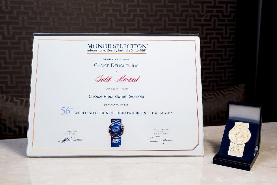 Choice巧思榮獲2016、2017年世界食品品質評鑑大賞金獎。