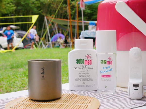 。花花最愛好幫手。露營就愛無污染可以自然分解的「施巴5.5潔膚露」
