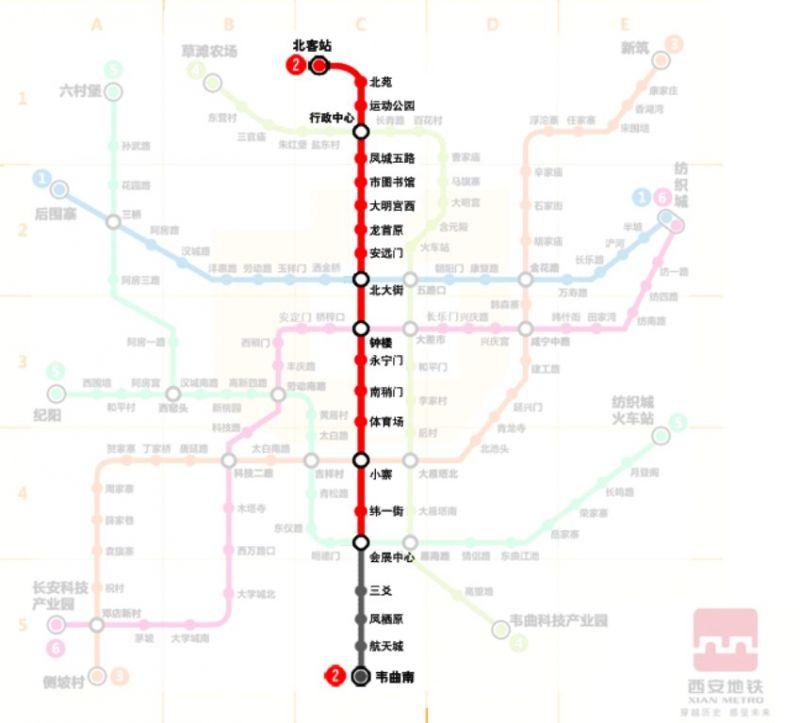 2號線貫穿西安東西軸線。
