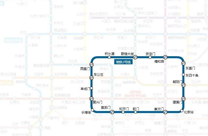 北京地鐵2號線。(圖片來源 北京地鐵官網)