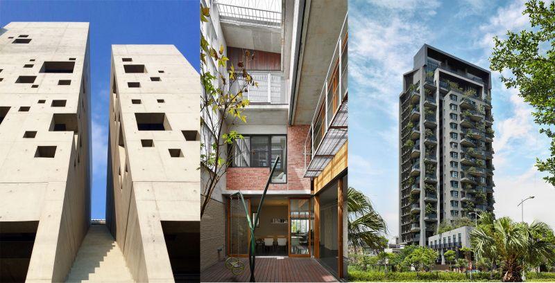 本屆三件首獎作品Brownmist House、宜蘭張宅、若山;圖片提供:台灣建築報導雜誌社
