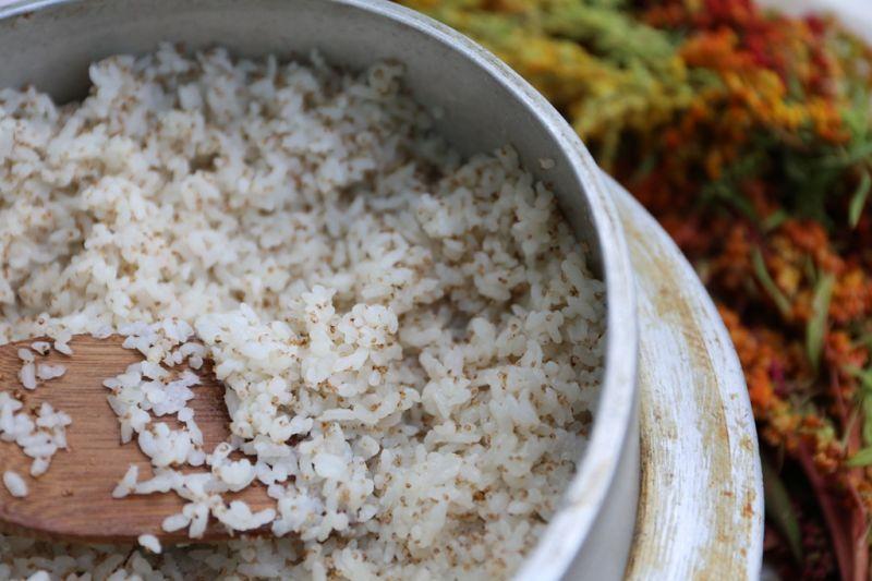 加入台東產的紅藜,時令餐桌節春饑有美味的紅藜飯糰喔!(台東縣政府提供)