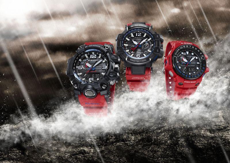 CASIO G-SHOCK MASTER OF G系列紅x黑新色設計。(CASIO 提供)