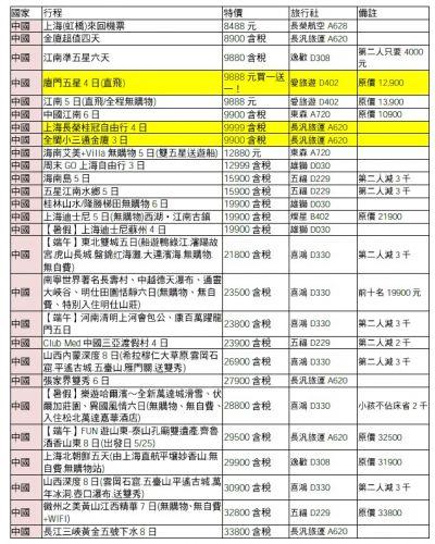 中國行程推出許多優惠,詳細看更多的優惠可自行上網下載。