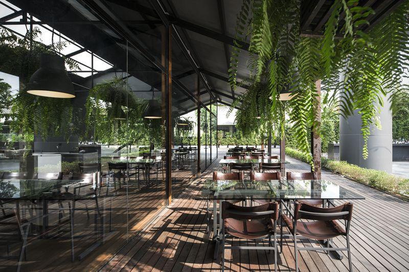 玻璃、輕鋼架及綠植栽成了餐廳的主要建築元素;圖片提供/DBALP