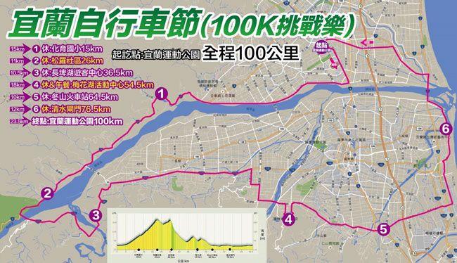 「追風100K耐力挑戰體驗」路線圖。(翻攝自活動簡章)
